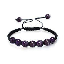 Wholesale Imperial Crystal - 6mm New Purple crystal Seven Chakra Imperial Stone Braided Rope Fashion Volcanic Rock Bracelet Women Jewelry Beads Bracelets Men Wholesale
