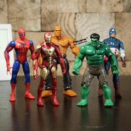 Wholesale Good Things - Superheroes Iron Man The Thing Hulk Captaib America Spiderman PVC Action Figures Toys 5pcs set Free Shipping