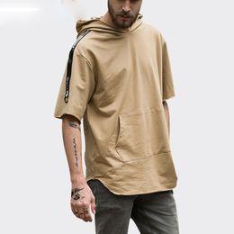 Wholesale Mens Summer Hoodie - Short Sleeve Thin Hoodies Mens Curved Hem Extended Pullover Sweatshirts 2017 Summer Male Hip Hop Solid Color Hooded