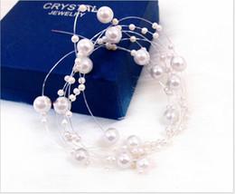 Wholesale Bride Hair Chain - Wild bridal headdress gorgeous star pearl chain bridal pearl line headdress wedding accessories Korean bride