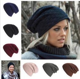Wholesale Crochet Beanie Colors - 2017 Fashion 6 Colors Crochet Knitted Men Women Beanie outdoor Ski Beanie Casual Cap winter Warm fleece Hats M518