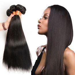 Wholesale Malaysian Remy Mixed Length - Brazilian Human Hair Bundles Extenions Straight Virgin Human Hair Weaves Natural Color Peruvian Malaysian Indian Remy Hair Shipping Free
