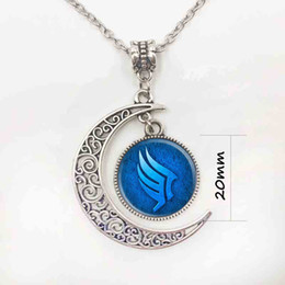 Wholesale Halloween Mass - Mass effect movie jewelry silver Moon necklace glass pendant round dome Necklaces Blue Pendant, fashion Jewelry women gift S25