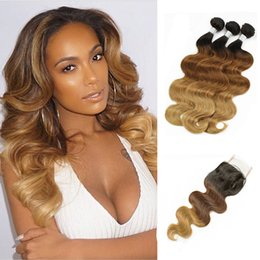 Wholesale Brazilian Weave Hair Ombre - T4 30 27 Ombre Human Hair Weave 3 Bundles With Lace Closure Body Wave Brazilian Peruvian Cambodian Indian Remy Hair