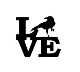 Wholesale Dark Red Vinyl - Wholesale 10pcs lot Crow Love Sticker for Car Window Truck Bumper Door Vinyl Decal Zoo Evil Dark Blackbird Raven Mynah Halloween Car Covers