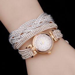 Wholesale Korea Ladies Watch - Wholesale- 2016 Women Casual Quartz Watch New Luxury Bracelet Watch Rhinestone Korea velvet Ladies Dress Watches Fashion Wristwatch Gift