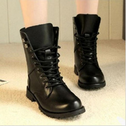 Wholesale Women Lace Up Combat Boots - Wholesale- Freeshipping 2016 Hot Sale New Style Womens Girls Vintage Combat Army Ankle PU Leather Shoes women Biker Boots in size 35-42