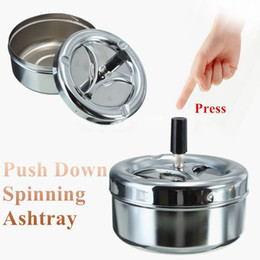 Wholesale Cigarette Ash Trays - Funky Spinning Ashtray Stainless Steel Ashtray Spinning Plain Ashtray Cigarette Ash Tray Push Down Lid Smoking Accessories