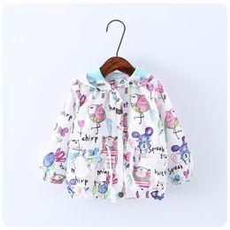Wholesale Wholesale Coats Jackets For Children - Bird Cartoon Graffiti Children Coat 2017 Autumn Spring Fashion Cute Jacket for Girls