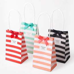 Wholesale Clothing Gift Packaging - Candy Color White Kraft Paper Striped Tote Bag Gift Packaging Bag Clothing Food Jewelry Shopping Bags