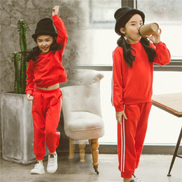 Wholesale Children Garment Sports - Children Clothes Girls Suits 2017 Spring Autumn New Sports Tide Garment Long-sleeved Fleece Red Two-piece Outfit for Students