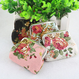 Wholesale New Vintage Fabric Bag - New fashion Vintage flower coin purse canvas key holder wallet hasp small gifts bag clutch handbag