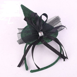 Wholesale Hen Party Hair Accessories - Halloween Devil Witch Cap Headband Carnival Mini top hat glitter fascinator Angel Hair Band hen party COS fancy dress accessory Green favor