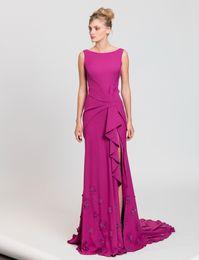Wholesale Embroidery Applique Cutting - side slit crepe evening dresses 2017 tony ward bateau neckline laser cut flowers appliques on the hemline