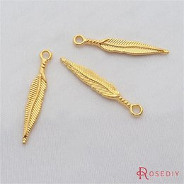 Wholesale Diy 5mm Gold Plated - Wholesale- (29309-G)20PCS 28*5MM Gold Color Plated Zinc Alloy Feather Charms Diy Handmade Jewelry Findings Jewelry Accessories Wholesale