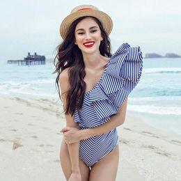 Wholesale One Shoulder Padded Swimsuit - JessicaCHE 2017 Women's Striped Ruffle Off-The-Shoulder Monokini Bikini Swimsuit Padded Slim Push Up Bathing Swimwear Bodysuit