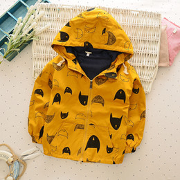 Wholesale Full Months - Boy animal print jacket Children orange hoodies tops Cartoon long sleeve clothes spring autumn cardigan Outwear