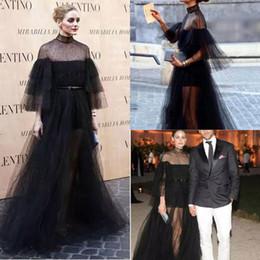 2019 vestidos de noche ver a través de las faldas 2017 negro vestidos de noche largos una línea con 3/4 vestidos de noche formales de la manga ver a través de la falda de cuello alto vestidos de baile