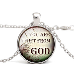 Wholesale Vintage Glass Charms Pendants - Christian Quotes Pendant Necklaces God Bless Glass Cabochon Alloy Vintage Charm Children Gift Women Jewelry Wholesale Free Shipping