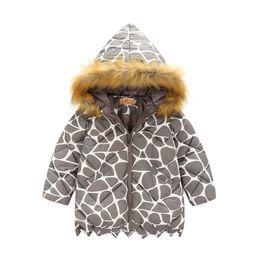 Wholesale Coat Outerwear Leopard Print - 2016 new autumn winter Outerwear leopard print girls coat children fur collar jackets warm kids clothes snowsuit kids coat