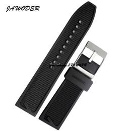 JAWODER Bracelet 24mm Hommes Noir Étanche Plongée En Silicone De Caoutchouc Montre Bracelet En Acier Inoxydable Argent Boucle Boucle pour B-R-E Montre ? partir de fabricateur