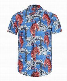 Wholesale Mens Casual Polo Shirts - Good Quality 2017 New Summer O-Neck Men Short Sleeve Casual Shirts Italia Design Tiger Printed Mens Cotton Men Polo Shirt
