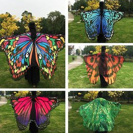 Wholesale Wholesale Butterfly Scarves - COSPLAY women Big Butterfly Wing Shawl sun-proof clothing women's cape Stole Scarf Beach Wrap Costume Party Gifts Bouses Shirts