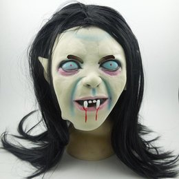 Wholesale Woman Scary Halloween Masks - Creepy Scary Toothy Masks Latex Halloween Zombie Ghost Mask Scary Emulsion Skin With Hair For Adult Children