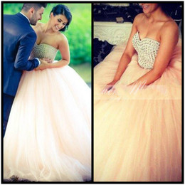 Wholesale Bandage Wedding Ball Gown - Unique Peach Wedding Dresses Turkey Ball Gowns Crystals Beading Sweetheart Ball Gowns Bandage Back 2017 Dubai Bridal Dress