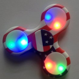 Wholesale National Flag Big - The US National Flag Fidget Spinner Hand Spinner With LED LIGHT Toy for Stress Relief, ADHD, Anxiety & Rave EDM