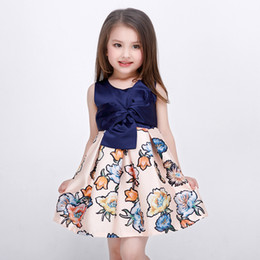Wholesale High Class Dresses - Baby Kids Clothing Girl's Dresses summer Spring Autumn high-class Princess Printed vintage Ball Gown children party flower girl dress #86027