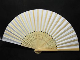 Wholesale Wholesale Bamboo Umbrella - Free shipping 10Pcs White Bridal Fans Hollow Bamboo Handle Wedding Accessories Fans Plain White Paper Hand Fans