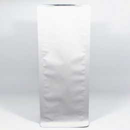 Wholesale Fabric Bellows - 11*27+7.5cm 20Pcs Lot Stand Up Matte White Aluminum Foil Bellows Pocket Heat Seal Accordion Pocket For Coffee Food Organ Packing