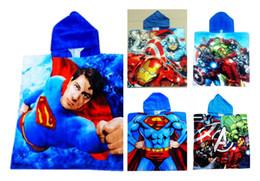 Wholesale Christmas Hooded Towels - Avenger Alliance American Captain Iron ManBaby Bath Towels Cartoon Robes Kids Bathrobe Poncho Baby Boy Cotton Hooded Cloak Blankets