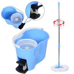 Wholesale Hoist System - Microfiber Spinning Mop Easy Floor Mop With Bucket 2 Heads 360 Rotating Head Blue