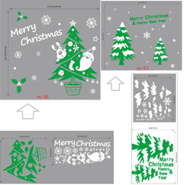 Wholesale Tree Life Decal - m56 57 Color Christmas Tree Wall Stickers Home Decor Xmas Snowflake Merry Christams Quote Decal for Baby Kids Shop Window