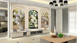 Wholesale 3d Rose Flower Fabric - Custom any size wallpaper for walls 3 d for living room 3d cubes European palace arches oil painting flowers TV background wall