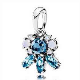 Wholesale Frost Flowers Beads - S925 Sterling Silver Patterns Of Frost Dangle Charm Bead with Multi-Colored Cz Fit European Pandora Jewelry Bracelet Necklaces & Pendant