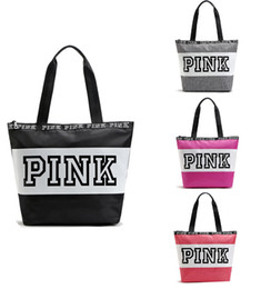 Wholesale Striped Beach Bags Wholesale - 2017 Fashion Pink Letter Handbags Secret VS Shoulder Bags Women Love Large Capacity Travel Duffle Striped Waterproof Beach Bag Shoulder
