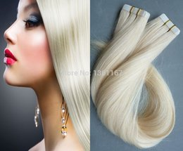 Wholesale 18 Platinum Blonde Hair Extensions - Sexy Hot Sale Skin Weft Tape in Hair Extensions Human 40pcs #60 Platinum Blonde unprocessed Brazilian Straight Hair 100g 10