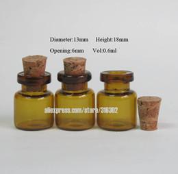 Wholesale Brown Glass Bottles Cork - 500 lot 0.6ml Mini Amber Glass bottle With Cork, Small Brown Corked Bottle, Wishing Amber Vials