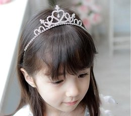 Wholesale Cheap Birthday Crowns - Glitter Crystsal Princess Girl Crowns 2017 Hot Sale Wedding Flower Girl Hair Tiaras Cute Kids Accessories for Birthday Gifts Cheap
