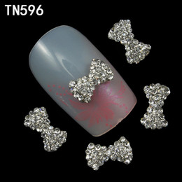 Wholesale 3d Nails Designs Bows - Wholesale- 10pcs 3d nail art decorations nail tools glitter rhinestone stiker bow design nail polish sexproduct