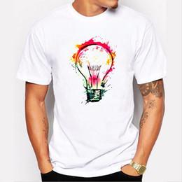 Wholesale Painting Tee Shirts - Men T-Shirt Top Tee Splash Ideas Novelty Fashion Rock Punk Design Bulb Painting Hipster O-Neck Boy T Shirt