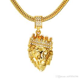 Wholesale Head Necklaces - Male Hip Hop Fashion Lion Head Pendant Necklaces Rhinestone Design 29inch Long Chain Filling Pieces Men Hip Hop Necklace Jewelry