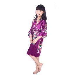 Wholesale Children Animal Robes - New Pajamas Flower Kimono Kids Nightgown 7 Sizes Kids Girls Robe Satin Small Children Kimono Robes Bridesmaid 11 Color