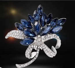 Wholesale Orchid Pearl - Luxury Silver Tone Sapphire Crystal Orchid Flower Brooch Pin Rhinestone Wedding Jewelry Brooches Party Dress Accessories Costume Corsage