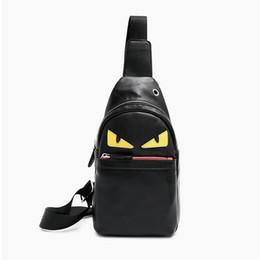 Wholesale Travel Sling Leather - Little Monster Devil Eye Leather Chest Pack Men Single Shoulder Backpack Sling Pack Cross Chest Bags Small Travel Messenger Bag Handbag