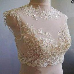 Wholesale Tulle Cap Bolero - Handmade Sheer Neckline Wraps Tulle Applique Bead Bridal Jackets for women White Ivory 2016 Lace Wedding Bolero Jewel Capped Bridal Shrug