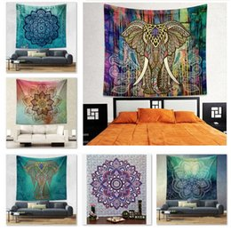 Wholesale Bath Mat Towelling - 20 Designs 150*130cm Bohemian Mandala Beach Tapestry Hippie Throw Yoga Mat Towel Indian Polyester Beach Shawl Bath Towel B1078